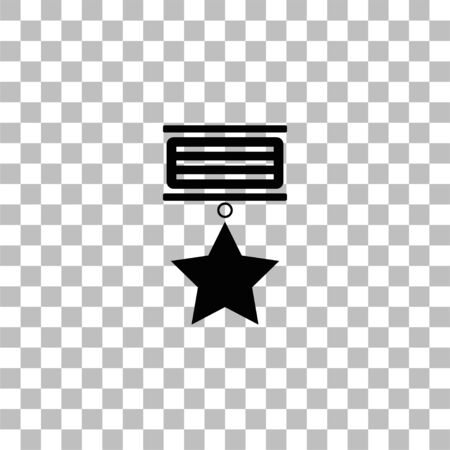 Medal. Black flat icon on a transparent background. Pictogram for your project