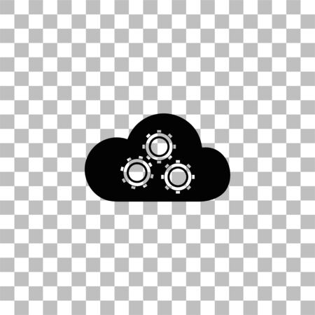 Cloud storage preferences. Black flat icon on a transparent background. Pictogram for your project