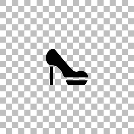 Woman shoes. Black flat icon on a transparent background. Pictogram for your project Ilustrace