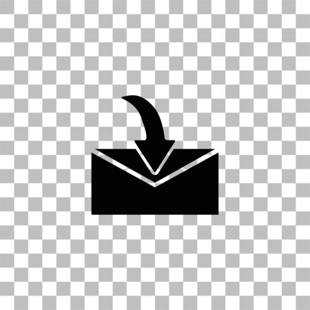 Envelope. Black flat icon on a transparent background. Pictogram for your project