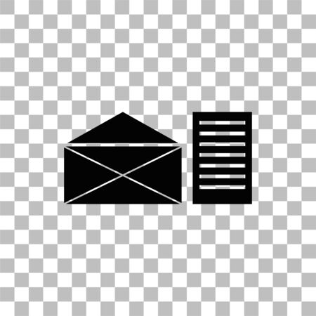 Mail letter. Black flat icon on a transparent background. Pictogram for your project