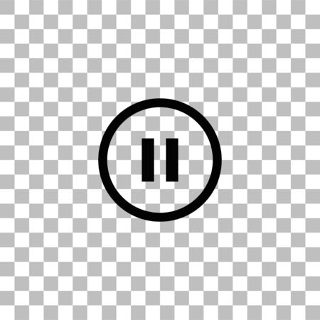 Pause button. Black flat icon on a transparent background. Pictogram for your project Illustration