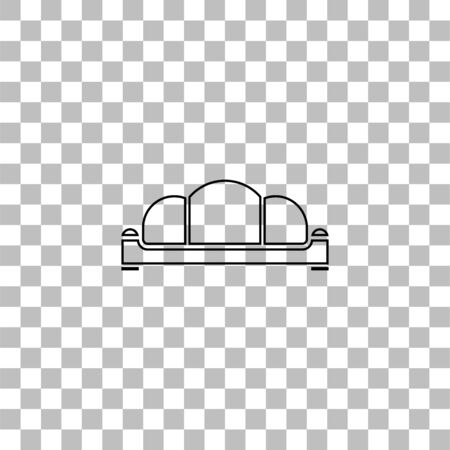 Sofa. Black flat icon on a transparent background. Pictogram for your project