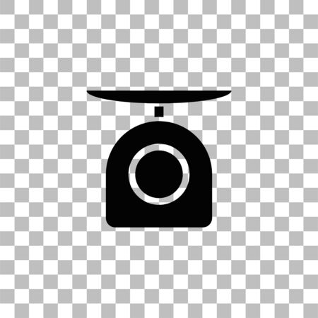 Weight scale. Black flat icon on a transparent background. Pictogram for your project