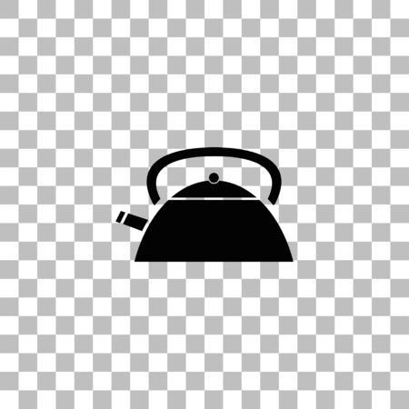 Teapot kettle. Black flat icon on a transparent background. Pictogram for your project