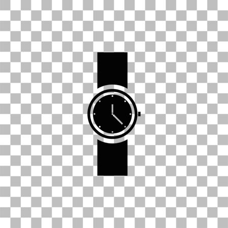 Wristwatch. Black flat icon on a transparent background. Pictogram for your project Ilustrace