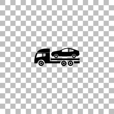 Tow car evacuation. Black flat icon on a transparent background. Pictogram for your project Ilustrace