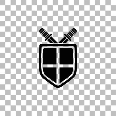 Shield and sword. Black flat icon on a transparent background. Pictogram for your project