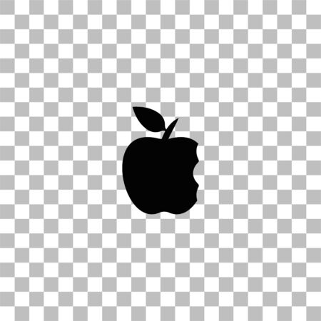 Bite apple. Black flat icon on a transparent background. Pictogram for your project