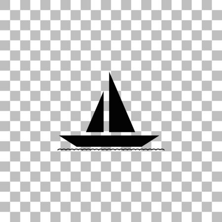 Sailboat. Black flat icon on a transparent background. Pictogram for your project