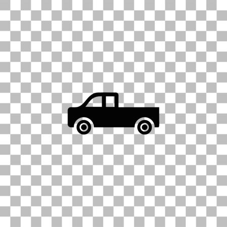 Pickup truck. Black flat icon on a transparent background. Pictogram for your project