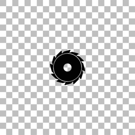 Sierra industrial. Icono de plano negro sobre fondo transparente. Pictograma para su proyecto