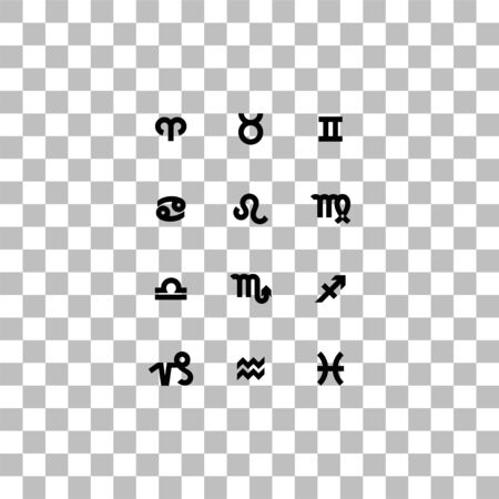 Zodiac. Black flat icon on a transparent background. Pictogram for your project Ilustrace
