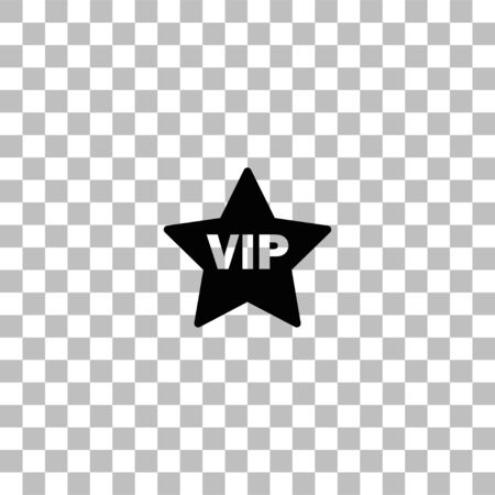 Vip star. Black flat icon on a transparent background. Pictogram for your project