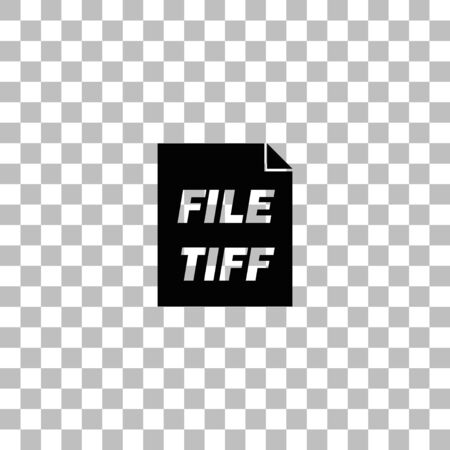 TIFF file. Black flat icon on a transparent background. Pictogram for your project