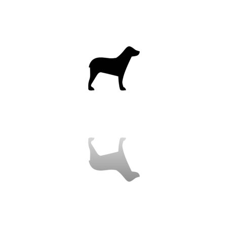Dog. Black symbol on white background. Simple illustration. Flat Vector Icon. Mirror Reflection Shadow.