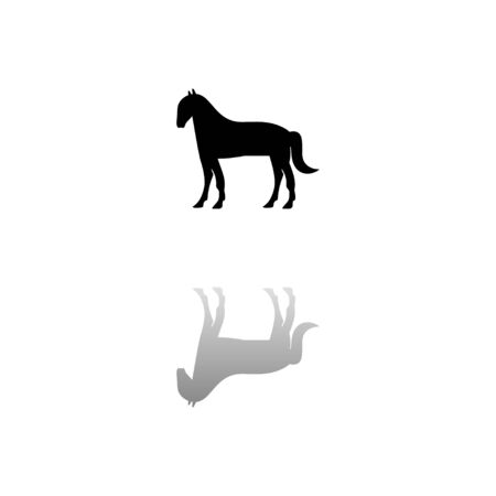 Horse. Black symbol on white background. Simple illustration. Flat Vector Icon. Mirror Reflection Shadow. 일러스트