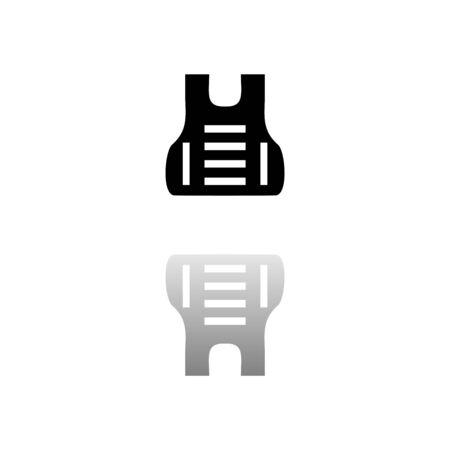 Bullet proof vest body armor suit. Black symbol on white background. Simple illustration. Stock Illustratie
