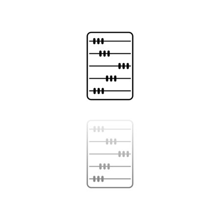 Abacus. Black symbol on white background. Simple illustration. Flat Vector Icon. Mirror Reflection Shadow.