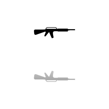 Assault carbine. Black symbol on white background. Simple illustration. Flat Vector Icon. Mirror Reflection Shadow.