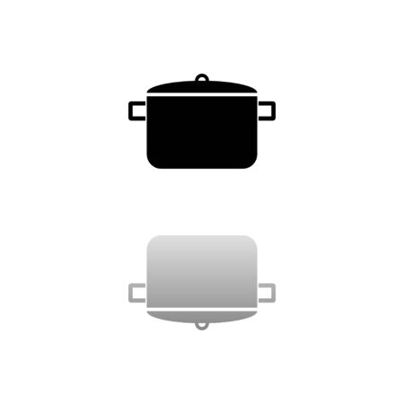 Pot. Black symbol on white background. Simple illustration. Flat Vector Icon. Mirror Reflection Shadow.