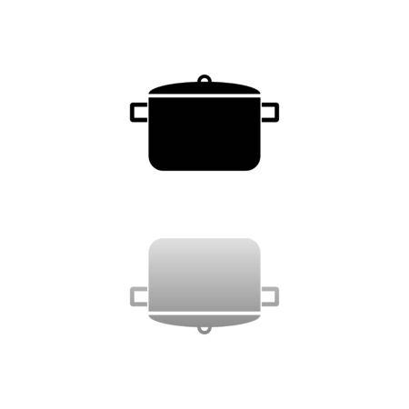 Pot. Black symbol on white background. Simple illustration. Flat Vector Icon. Mirror Reflection Shadow. Illustration