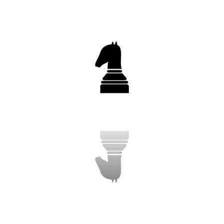Chess. Black symbol on white background. Simple illustration. Flat Vector Icon. Mirror Reflection Shadow. Illustration