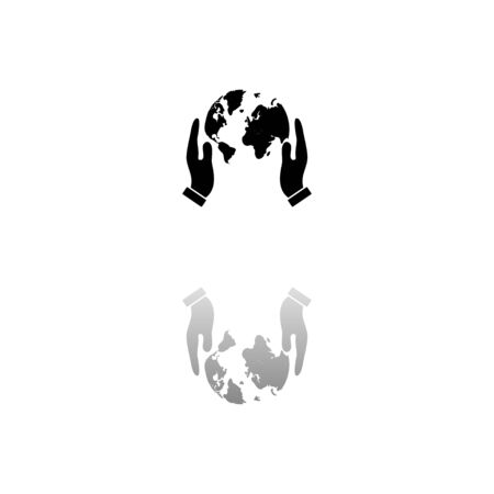 Hands holding globe earth. Black symbol on white background. Simple illustration. Flat Vector Icon. Mirror Reflection Shadow. Can be used in web, mobile and UI UX project