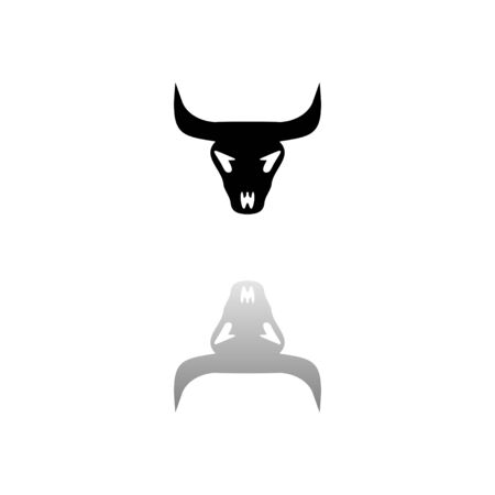 Bull skull. Black symbol on white background. Simple illustration. Flat Vector Icon. Mirror Reflection Shadow. Can be used in web, mobile and UI UX project