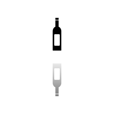 Wine Bottle. Black symbol on white background. Simple illustration. Flat Vector Icon. Mirror Reflection Shadow. Can be used in logo, web, mobile and UI UX project