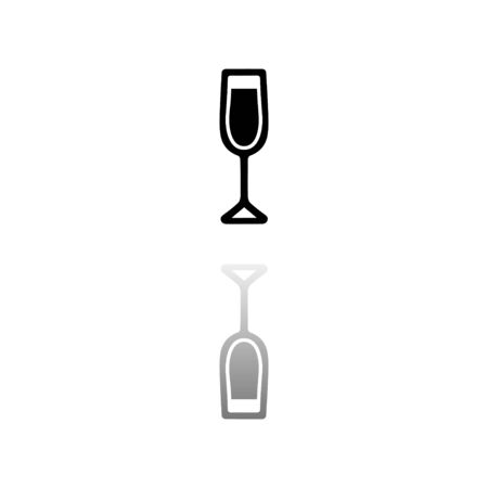 Wine Glass. Black symbol on white background. Simple illustration. Flat Vector Icon. Mirror Reflection Shadow. Can be used in logo, web, mobile and UI UX project