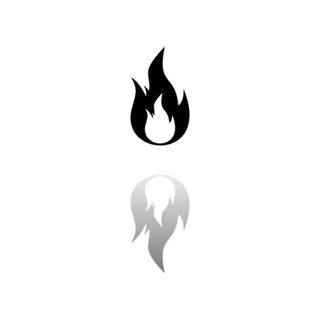 Fire. Black symbol on white background. Simple illustration. Flat Vector Icon. Mirror Reflection Shadow. Can be used in logo, web, mobile and UI UX project Ilustração