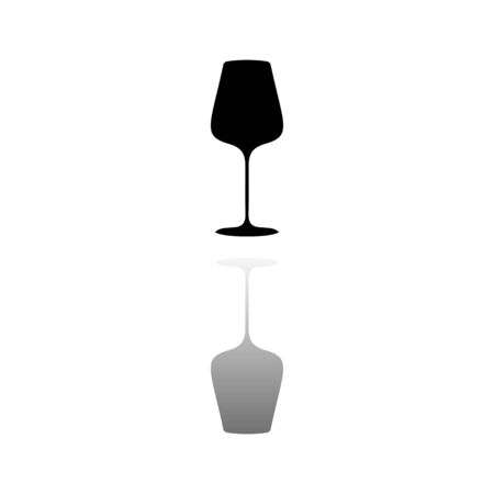 Glass Cup for Wine or Champagne. Black symbol on white background. Simple illustration. Flat Vector Icon. Mirror Reflection Shadow. Can be used in logo, web, mobile and UI UX project Stock Illustratie