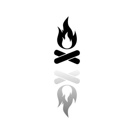 Bonfire, Campfire. Black symbol on white background. Simple illustration. Flat Vector Icon. Mirror Reflection Shadow. Can be used in logo, web, mobile and UI UX project Ilustração