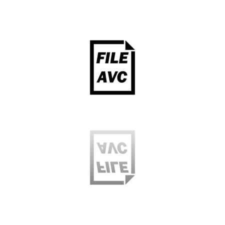 AVC File. Black symbol on white background. Simple illustration. Flat Vector Icon. Mirror Reflection Shadow. Can be used in logo, web, mobile and UI UX project