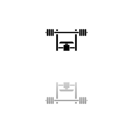 Bench Press with Barbel. Black symbol on white background. Simple illustration. Flat Vector Icon. Mirror Reflection Shadow.