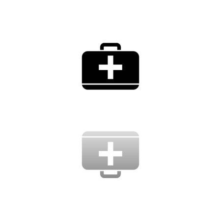 First aid kit. Black symbol on white background. Simple illustration. Flat Vector Icon. Mirror Reflection Shadow. Ilustracja