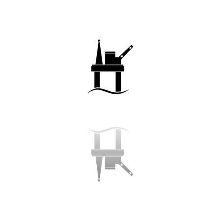 Oil platform. Black symbol on white background. Simple illustration. Flat Vector Icon. Mirror Reflection Shadow.