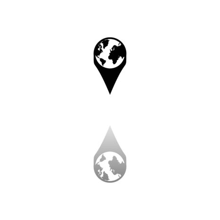 Globe pin. Black symbol on white background. Simple illustration. Flat Vector Icon. Mirror Reflection Shadow. Illustration