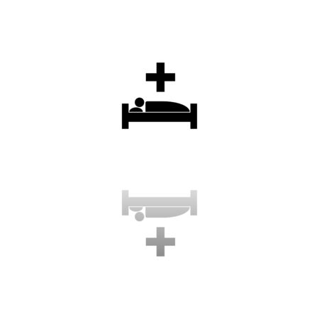 Hospital. Black symbol on white background. Simple illustration. Flat Vector Icon. Mirror Reflection Shadow.