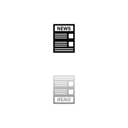 News. Black symbol on white background. Simple illustration. Flat Vector Icon. Mirror Reflection Shadow. Illustration