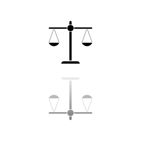 Justice scale. Black symbol on white background. Simple illustration. Flat Vector Icon. Mirror Reflection Shadow.