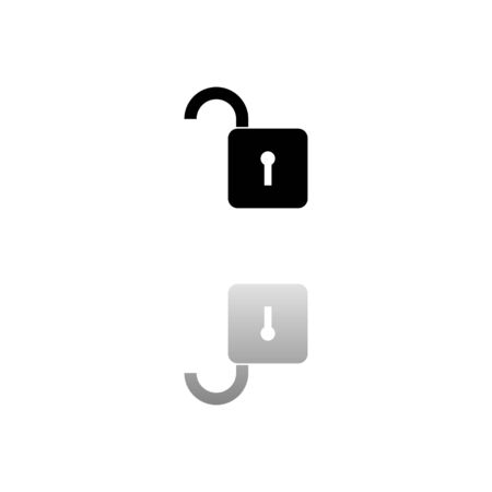 Unlock. Black symbol on white background. Simple illustration. Flat Vector Icon. Mirror Reflection Shadow. Can be used in logo, web, mobile and UI UX project