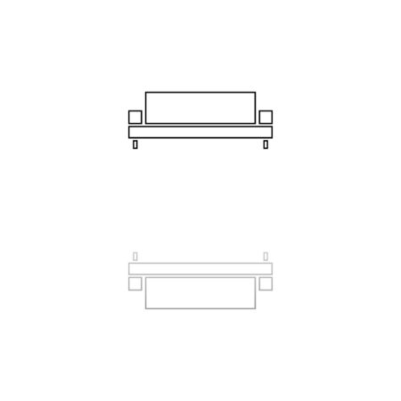 Sofa. Black symbol on white background. Simple illustration. Flat Vector Icon. Mirror Reflection Shadow. Can be used in web, mobile and UI UX project Illustration