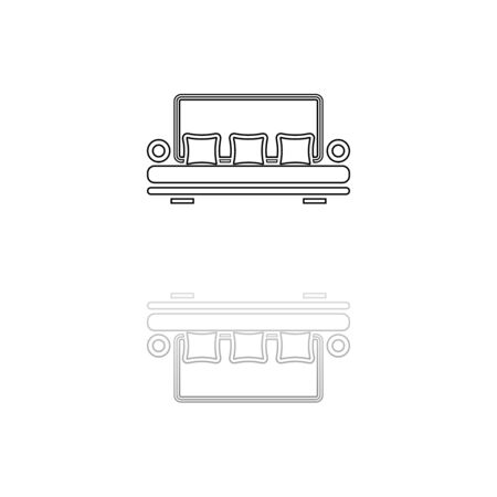 Sofa. Black symbol on white background. Simple illustration. Flat Vector Icon. Mirror Reflection Shadow. Can be used in web, mobile and UI UX project 向量圖像