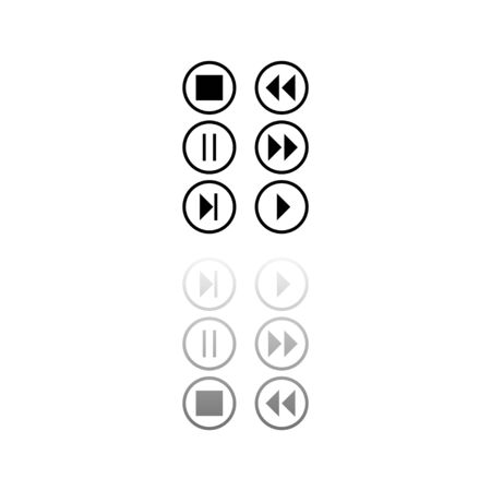 Video Audio Player buttons. Black symbol on white background. Simple illustration. Flat Vector Icon. Mirror Reflection Shadow. Can be used in web, mobile and UI UX project Vettoriali