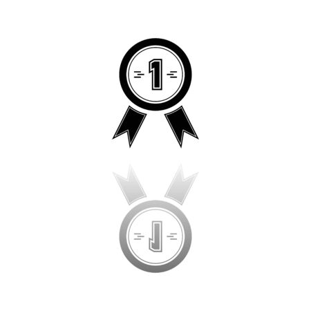 Award medals. Black symbol on white background. Simple illustration. Flat Vector Icon. Mirror Reflection Shadow. Vectores
