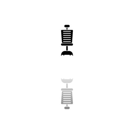 Office chair. Black symbol on white background. Simple illustration. Flat Vector Icon. Mirror Reflection Shadow. Can be used in logo, web, mobile and UI UX project Иллюстрация