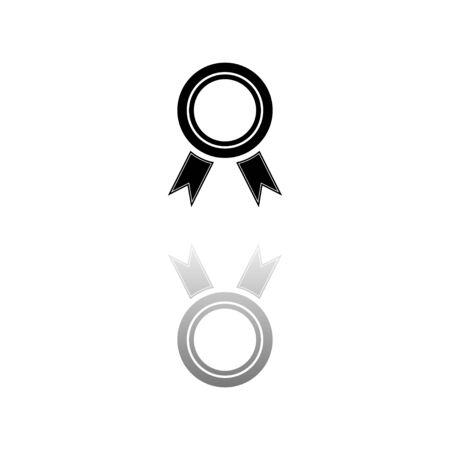 Award. Black symbol on white background. Simple illustration. Flat Vector Icon. Mirror Reflection Shadow. Stock Illustratie
