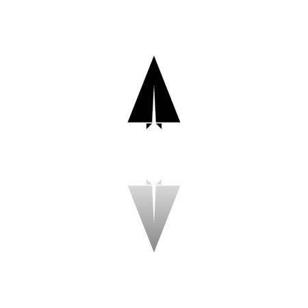 Paper plane. Black symbol on white background. Simple illustration. Flat Vector Icon. Mirror Reflection Shadow. Ilustracja